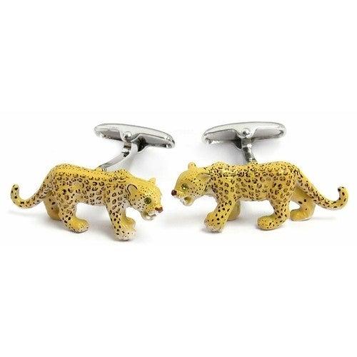 Leopard Cufflinks Painted Animal
