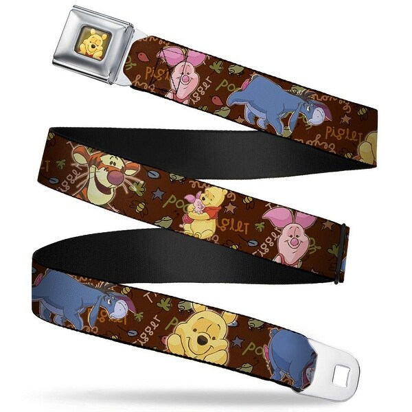 Winnie The Pooh Face Full Color Radial Brown Fade Winnie The Pooh Character Seatbelt Belt