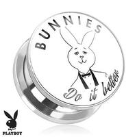 """Bunnies Do It Better"" Playboy Print Screw Fit Plug 316L Surgical Steel (Sold Individually)"