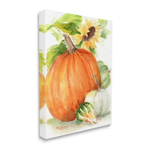Stupell Industries Pumpkin Sunflower and Gourd Fall Farm Harvest Canvas Wall Art - Multi-Color