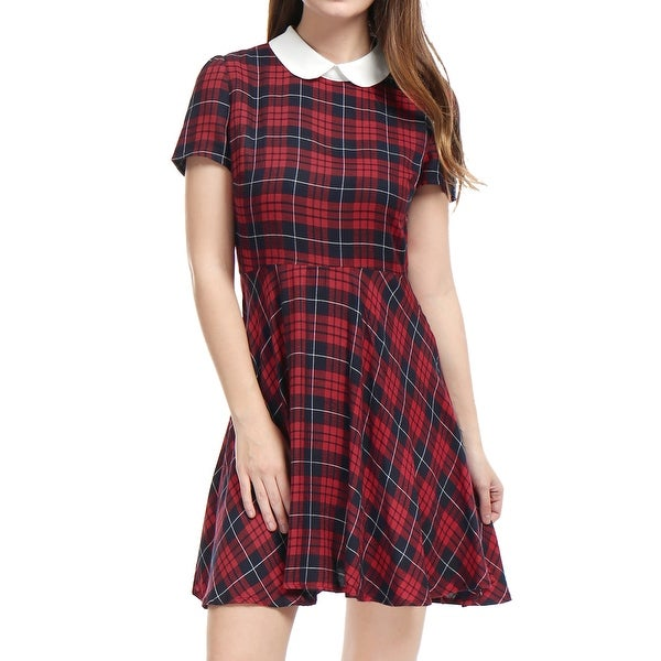 23ee1a7fe3eae6 Allegra K Women Plaids Contrast Peter Pan Collar Puff Sleeves Above Knee  Dress - Red