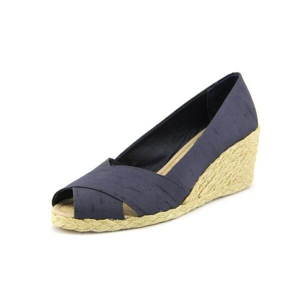 Lauren Ralph Lauren Cecilia Women Open Toe Canvas Blue Wedge Heel