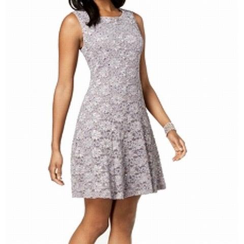 Connected Apparel Purple Women's Size 12 Sequin Lace A-Line Dress