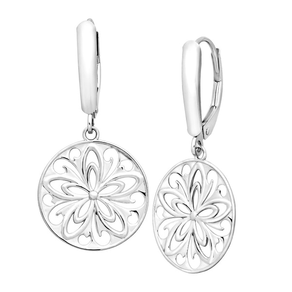 Just Gold Floral Medallion Drop Earrings in 14K White Gold