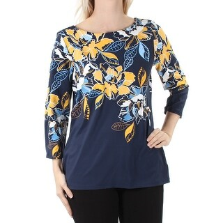 CHARTER CLUB $52 Womens New 1555 Navy White Floral 3/4 Sleeve Top S B+B