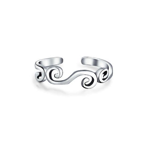 Bali Style Open Swirl Cut Out Midi Thin Band Toe Ring 925 Silver Sterling Mid Finger Adjustable