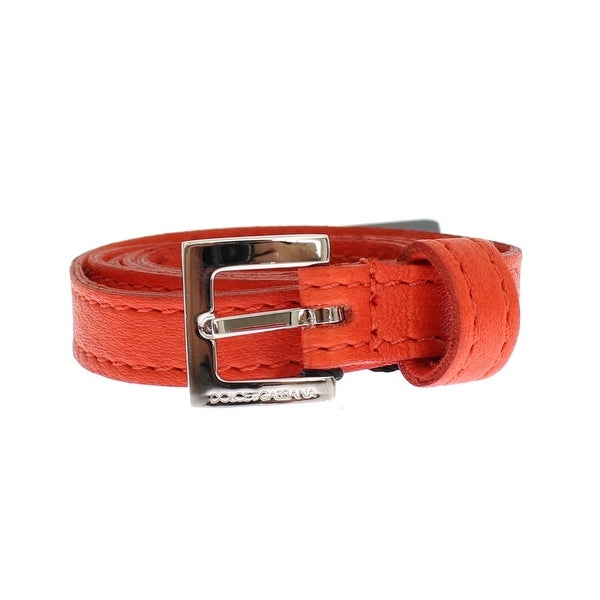 Dolce & Gabbana Orange Leather Silver Buckle Logo Belt