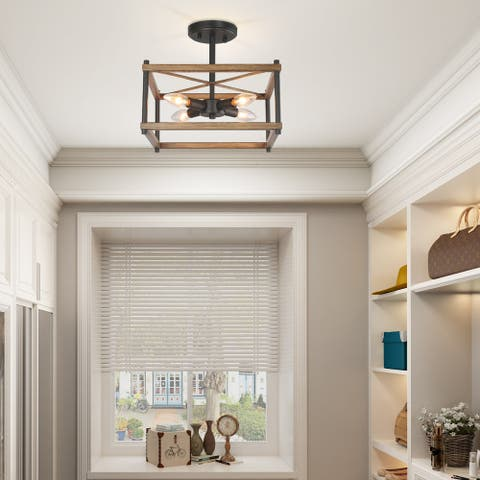 "Mid-century Modern Semi-flush Mount 4-light Ceiling Lights - L12.5""x W12.5""x H12"""