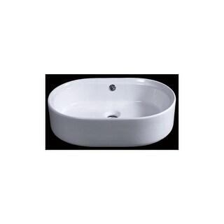 "Eago BA132 21-5/8"" Rounded-Corner Vessel Bathroom Sink - White"