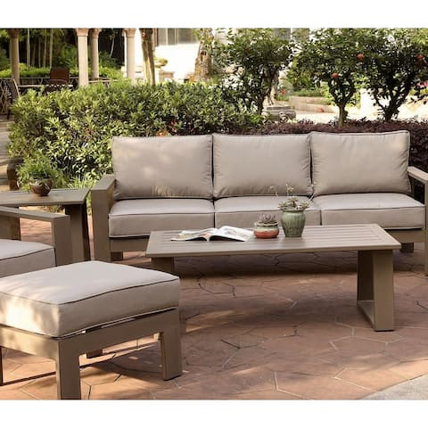 Marina 28x50 Inch Aluminum Coffee Table - Best Outdoor Patio Furniture - (w) 49.8 in. x (h) 17.91 in. x (d) 26.38 in.