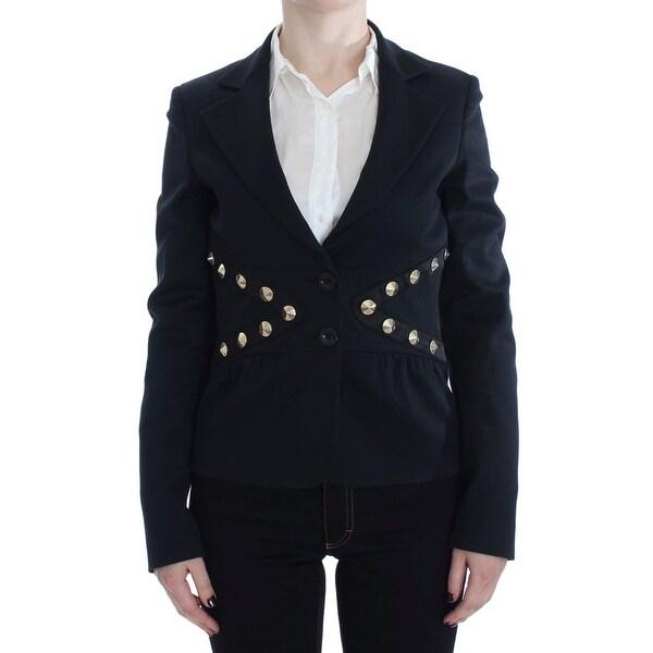 d0de52ea47 Shop EXTE Black Cotton Stretch Gold Studded Blazer Women's Jacket ...
