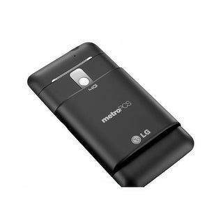 LG Revolution VS910 Extended Battery Door / Cover (Black) - Metro PCS Logo