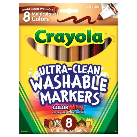 Crayola Multi-Ethnic Ultra-Clean Washable Markers, Conical Tip, Assorted Skin Tone Colors, Pack of 8