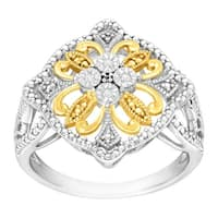Filigree Ring with Diamonds in 14K Gold-Plated Sterling Silver