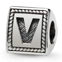 Sterling Silver Reflections Letter V Triangle Block Bead (4mm Diameter Hole)