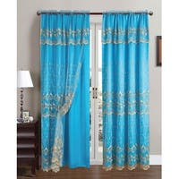 Aliya Embroidered Panel With Attached Valance And Backing, Aqua Blue-Gold, 55x84 Inches