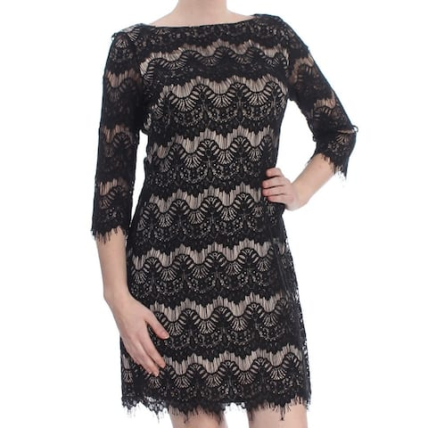 0cabcbd36068f JESSICA HOWARD Womens Black Frayed Lace 3/4 Sleeve Boat Neck Above The Knee  Cocktail