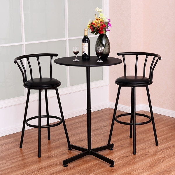 Black Bar Set: Shop Costway 3 Piece Bar Table Set With 2 Stools Bistro