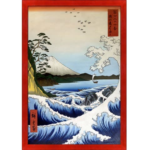 Hiroshige 'The Sea at Satta, Suruga Province, from Thirty-six Views of Mount Fuji' Hand Painted Oil Reproduction