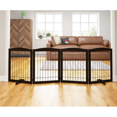 PAWLAND-4 Panels,30 Inch,Dog Gate, Freestanding Foldable Wire Pet Gate, Safety Gate Fence
