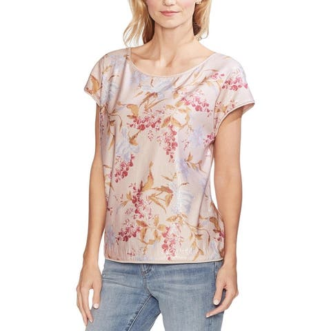 Vince Camuto Womens Pullover Top Sequined Drop Shoulder