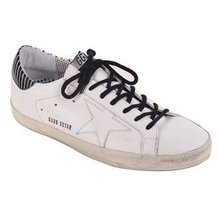 Golden Goose Mens White Double Pattern Leather Superstar Sneakers