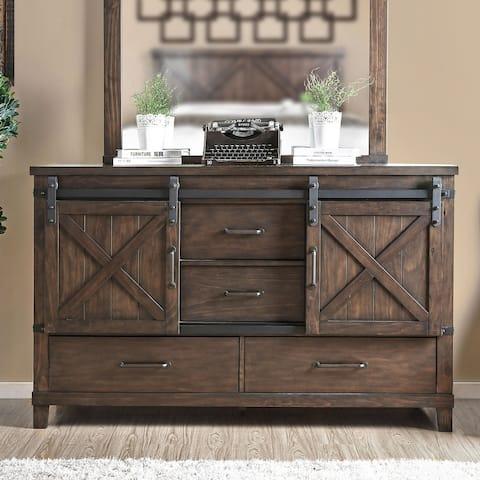 Furniture of America Epona Transitional Sliding Doors Dresser