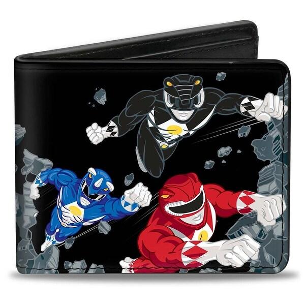 3 Power Rangers Flying Breaking Concrete + Mighty Morphin Power Rangers Bi-Fold Wallet - One Size Fits most