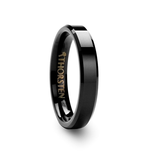 THORSTEN - VIENNA Beveled Black Tungsten Band - 4mm