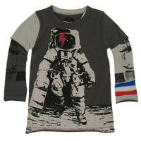 Mini Shatsu Baby Boys Grey Astronaut Skater Screen Print Twofer Shirt 12M