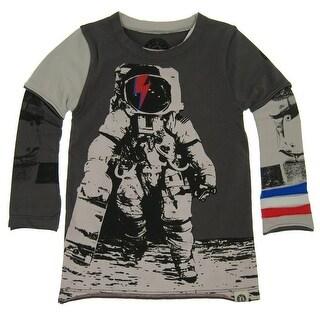 Mini Shatsu Baby Boys Grey Astronaut Skater Screen Print Twofer Shirt 12M