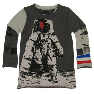 Mini Shatsu Baby Boys Grey Astronaut Skater Screen Print Twofer Shirt 18M