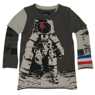 Mini Shatsu Little Boys Grey Astronaut Skater Screen Print Twofer Shirt 2T