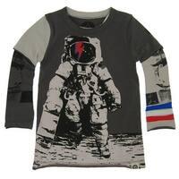 Mini Shatsu Little Boys Grey Astronaut Skater Screen Print Twofer Shirt 2T