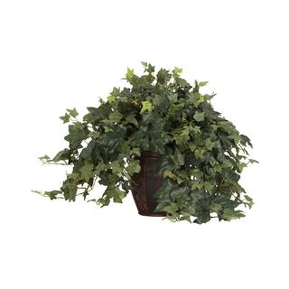 Nearly Natural Puff Ivy with Decorative Vase Silk Plant Green