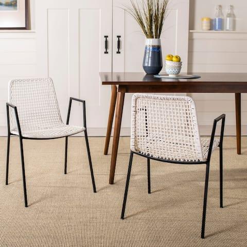 "Safavieh Wynona Leather Dining Chair-White / Black - 20"" x 21"" x 31"""