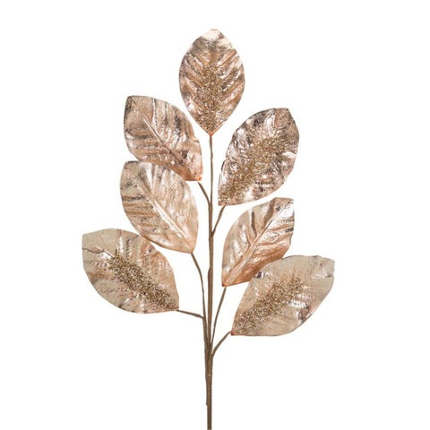 """Club Pack of 12 Cantaloupe Bronze Colored Glittering Artificial Leaf Spray Decor 31.5"""""""