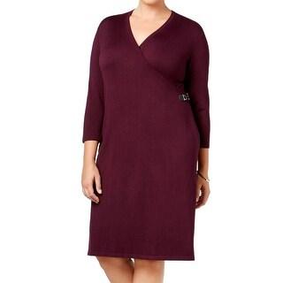 Calvin Klein Three Quarter Sleeve Mock Wrap Sweater Dress Burgundy 1X
