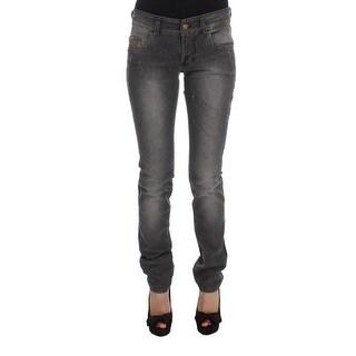 Galliano Galliano Gray Wash Cotton Blend Slim Fit Stretch Jeans