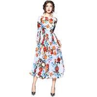 Women Floral Print Chiffon Evening Party Dress