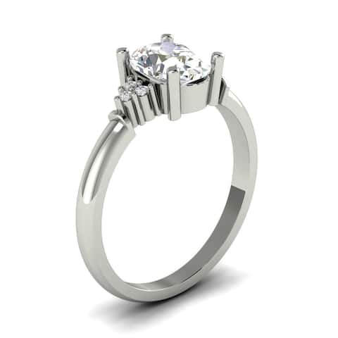 1.15 CT Cluster Oval and Round Cut Diamond Engagement Ring in 14KT