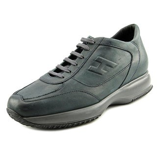 Hogan New Interactive H Rilievo Round Toe Leather Sneakers