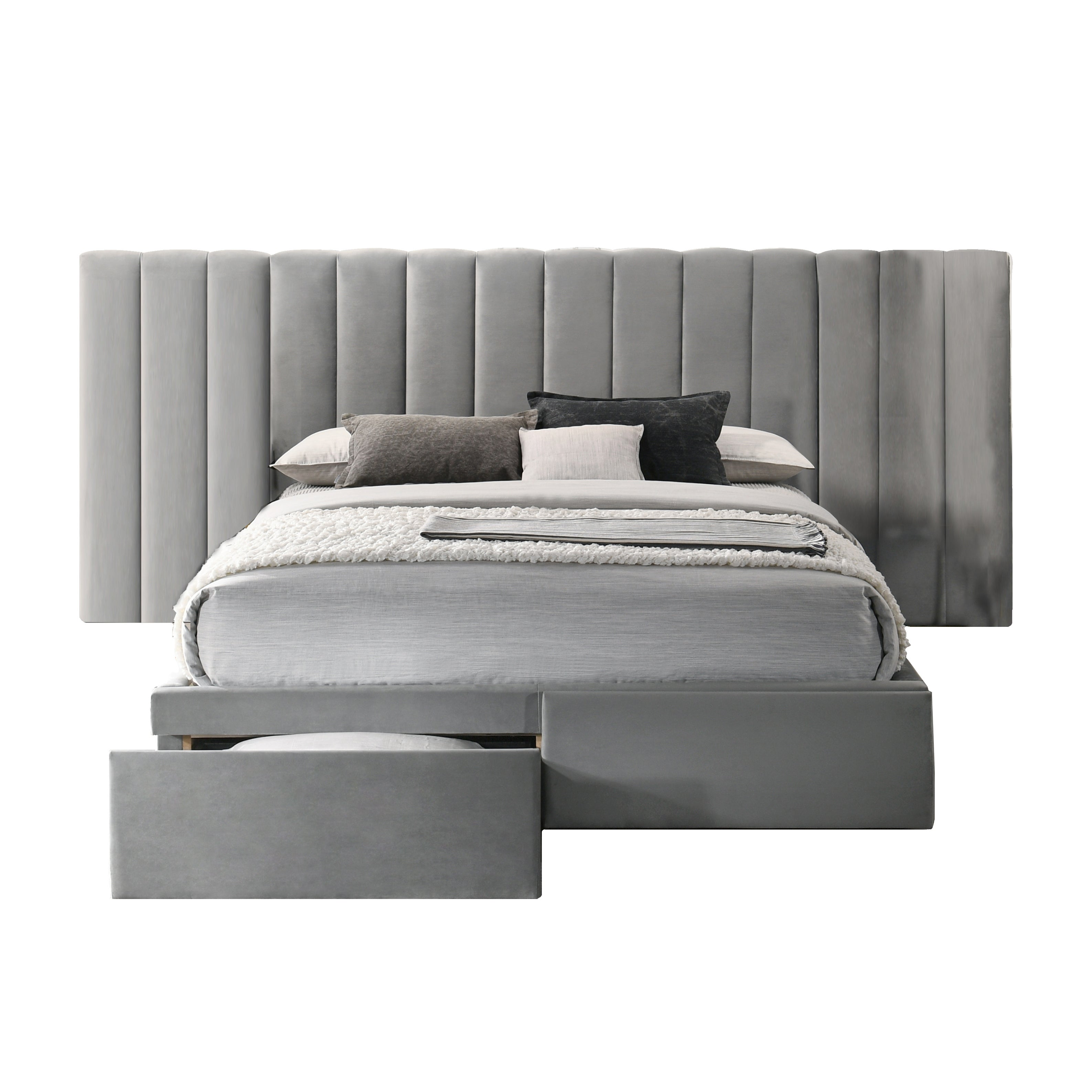 Faro Velvet Bed Frame With Extra Wide Headboard And Storage Overstock 31789786 Grey Queen