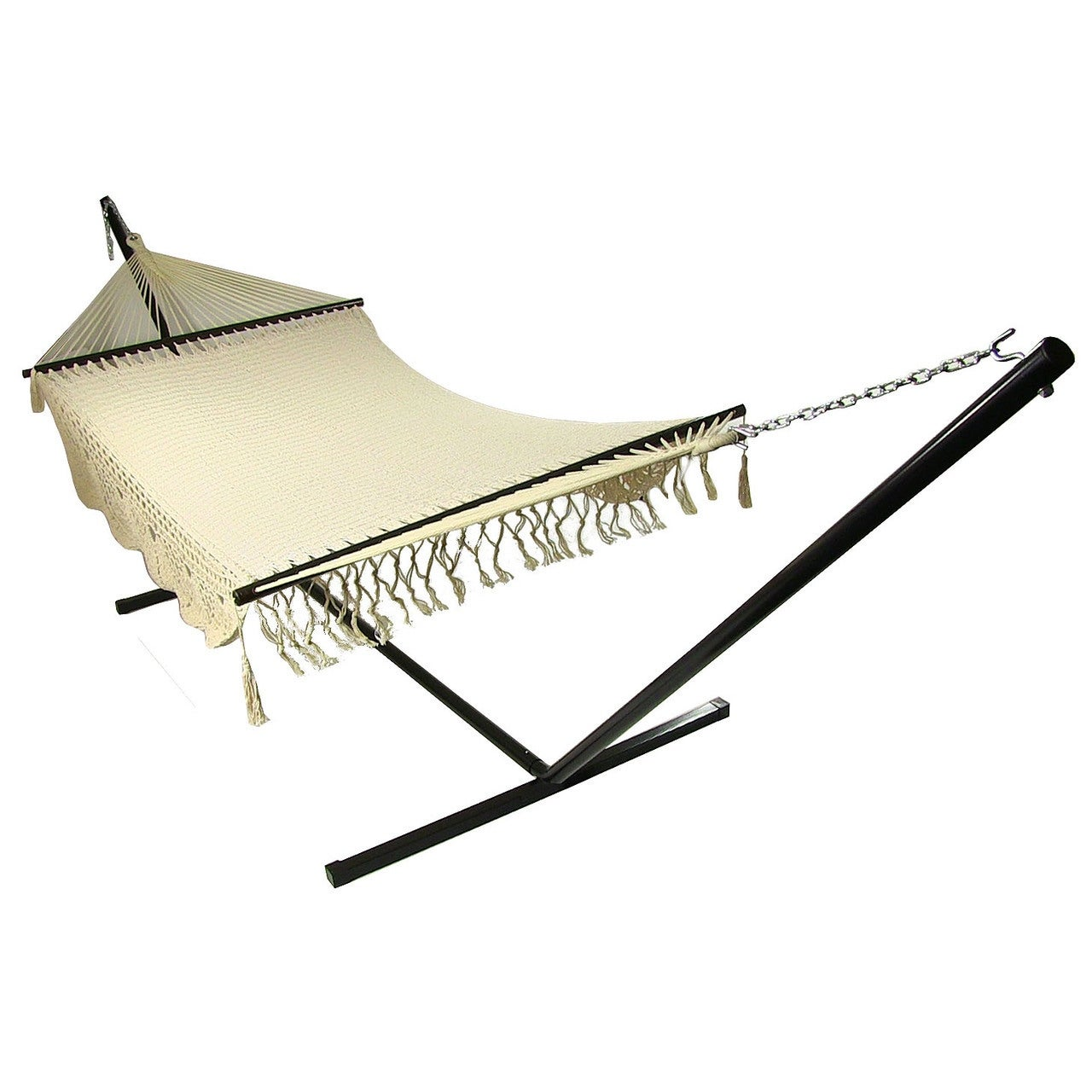 Sunnydaze American DeLuxe Style Mayan Hammock or Hammock w/ Stand Option - Antique White - Thumbnail 7