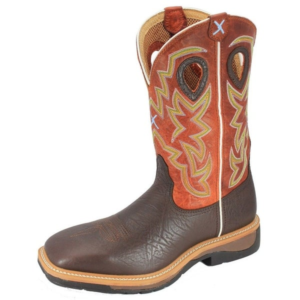 Twisted X Western Work Boots Mens Leather Cognac Orange