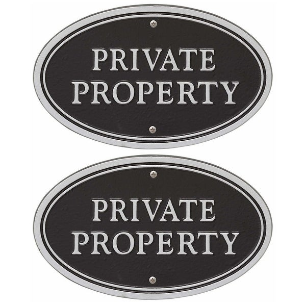 Whitehall Private Property Statement Plaque (Black/Silver, 2-Pack) - 10 in. x 6 in. x 1 in.
