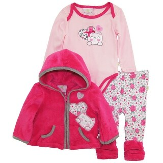 Duck Goose Baby Girls Little Kitty Sherpa Jacket Bodysuit Roses Legging Pant Set