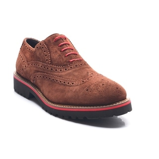 Bruno Magli Men's Leather Suede Wood Malachi Lace-up Oxford Shoes Brown Red