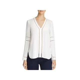 Elie Tahari Womens Damaris Blouse Silk Laser Cut