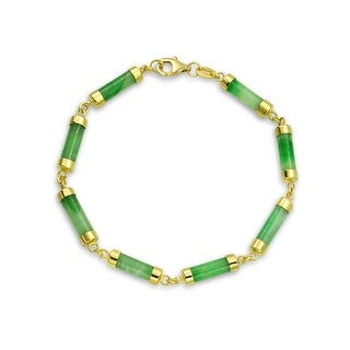 Bling Jewelry Sterling Silver Dyed Green Jade Link Bracelet